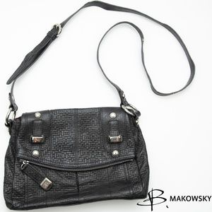 B Makowsky Fold Over Black Crossbody Bag